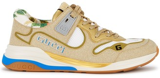 Gucci Ultrapace Gold Glittered Leather Sneakers