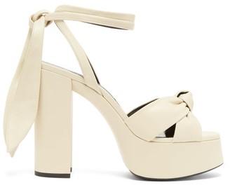 Saint Laurent Bianca Leather Platform Sandals - Cream
