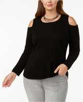 Charter Club Plus Size Cashmere Cold-Shoulder Sweater, Created for Macy's