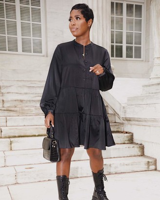 The Drop Women's Black Button-Front Tiered Mini Dress by @highlowluxxe M