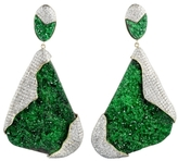 Kara Ross Petra One-of-a-Kind Earrings in Uvarovite and Pave Diamonds