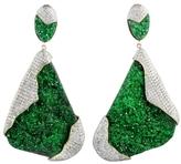 Kara Ross Petra One-of-a-Kind Earrings in Uvarovite and Pave Diamonds