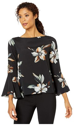 Karen Kane Bell Sleeve Boat Neck Top (Print) Women's Clothing