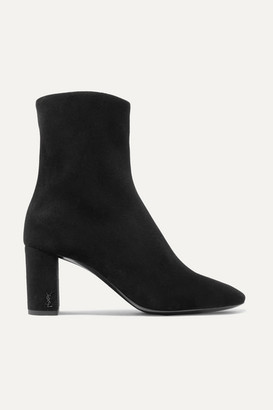 Saint Laurent Lou Suede Ankle Boots - Black