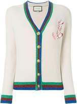 Gucci metallic tri-stripe trim knitted cardigan