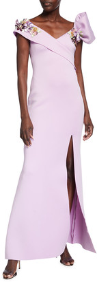 Badgley Mischka Asymmetrical Stretch Scuba Gown w/ Floral Applique
