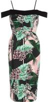 River Island Womens Green tropical bardot bodycon midi dress