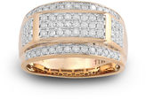 JCPenney FINE JEWELRY Mens 1 CT. T.W. Diamond 10K Yellow Gold Frame Ring