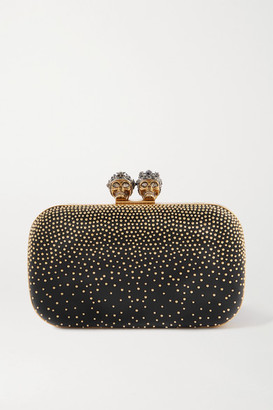 Alexander McQueen Queen & King Crystal-embellished Studded Leather Clutch - Black