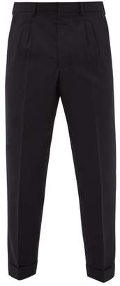 Ami Tapered Leg Wool Twill Trousers - Mens - Navy