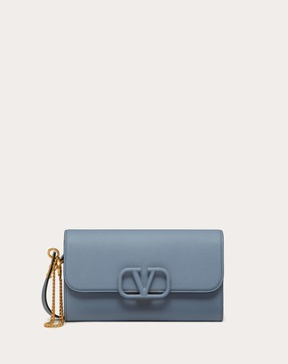 Valentino Vsling Grainy Calfskin Pouch With Shoulder Strap Women Azure 100% Pelle Di Vitello - Bos Taurus OneSize