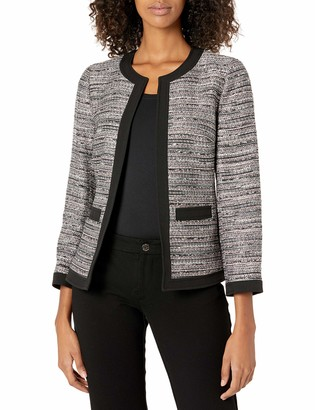 Anne Klein Women's Open Front Tweed Framed Jacket with Patch Pockets