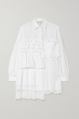 Simone Rocha Moncler Genius - + 4 Ruffled Lace-trimmed Broderie Anglaise Cotton-blend Blouse - White