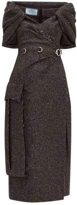 Prada Cape-panel Wool-blend Tweed Dress - Womens - Black White