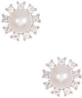 Candela 10K White Gold Flower CZ & 3mm Freshwater Pearl Stud Earrings