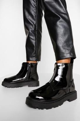 boohoo Wide Fit Zip Front Biker Boots