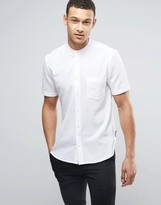 French Connection Linen Grandad Shirt with Short Sleeves