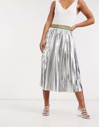 John Zack pleated metallic midi skirt in silver