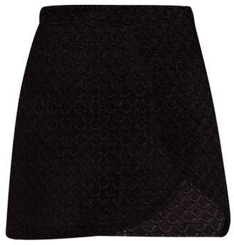 Missoni Mare - High Rise Lame Crochet Wrap Skirt - Womens - Black