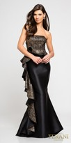 Terani Couture Strapless Low Back Side Ruffle Column Evening Dress