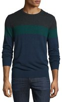Michael Kors Colorblock Long-Sleeve Wool-Blend Sweater, Charcoal Melange