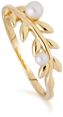 Gemondo O Leaf Pearl Ring in Gold Plated Silver