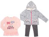 Little Lass Light Coral & Heather Gray Cat Jacket Set - Infant, Toddler & Girls