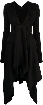 Sacai handkerchief V-neck dress