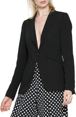 Dewey Button-Front Pocketed Blazer