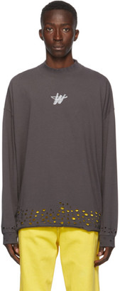 we11done Grey Distressed WD Logo Long Sleeve T-Shirt