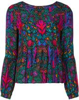 Nicole Miller abstract print ruffled blouse