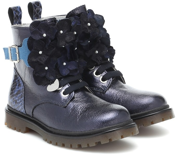 MonnaLisa Embellished faux leather ankle boots