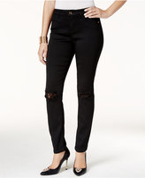 Thalia Sodi Lace-Trim Deep Black Wash Skinny Jeans, Only at Macy's