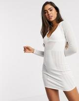 Asos Design DESIGN mesh detail deep v structured mini dress