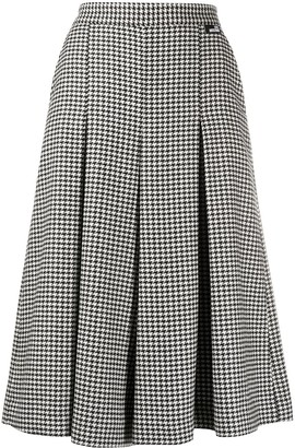 Love Moschino Pleated Houndstooth Pattern Skirt