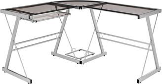 "Hewson 51"" Modern Metal Glass Corner Computer Desk"