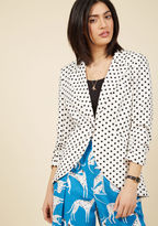 ModCloth Fine and Sandy Blazer in Dotted White in XS