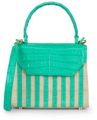 Nancy Gonzalez Tina Craig x Mini Lily Striped Crocodile & Raffia Top Handle Bag