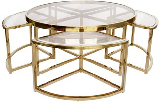 clear Sundance Nesting Coffee Table 5 Piece Gold With Glass
