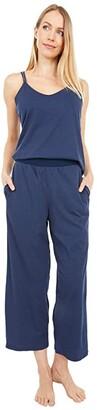Skin Suri Organic Pima Cotton Double Strap Cami with Crop Pants (Blue Caviar) Women's Pajama Sets
