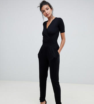 ASOS DESIGN Tall wrap front jersey jumpsuit with short sleeve