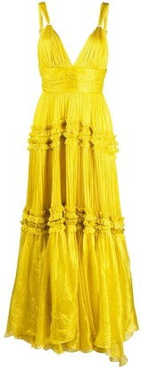 Maria Lucia Hohan Tiered Ruffle Trim Gown