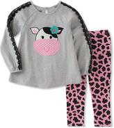 Kids Headquarters Gray Cow Tunic & Pink Leggings - Toddler & Girls