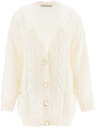 Alessandra Rich Crystal Button V-Neck Cardigan