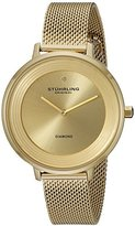 Stuhrling Original Symphony Women's Quartz Watch with Gold Dial Analogue Display and Gold Stainless Steel Bracelet 589.03