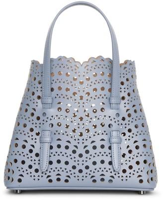 Alaia Mina mini 20 blue leather tote bag