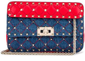 Valentino Rockstud Spike Shoulder Bag in Light Denim & Red | FWRD