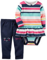Carter's 2-Pc. Cotton Striped Bodysuit and Smile Pants Set, Baby Girls (0-24 months)