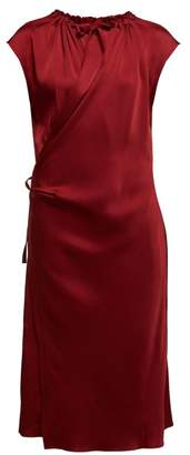 Joseph Burgess Satin Crepe Wrap Midi Dress - Womens - Burgundy