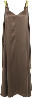 Rag & Bone Draped Two-tone Silk-satin Midi Dress